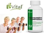 Glucosamina e Condroitina da é-Vitall: Frasco de 72 Cápsulas para 24 Dias. PORTES INCLUÍDOS.