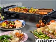 Placa de Grill Eléctrica ROCK&WATER de 1600W com Revestimento Cerâmico de Pedra Triplo Antiaderente