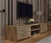 Móvel de TV com 4 Gavetas e 2 Prateleiras em Carvalho Claro: Um Modelo Espaçoso para a sua Sala