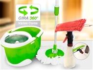 Conjunto de Limpeza Mágico 360º com Esfregona Rotativa, Balde com Tambor Inox e Limpa Vidros.