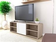 Móvel de TV com 1 Porta e 4 Prateleiras em Carvalho Claro e Branco. Um design europeu