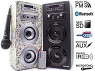 Coluna Portátil Karaoke Guitar com Amplificador, Microfone, Comando, Bluetooth, SD, MMC, AUX e USB.