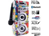 Coluna Portátil Karaoke Picasso com Amplificador, Microfone, Comando, Bluetooth, SD, MMC, AUX e USB.