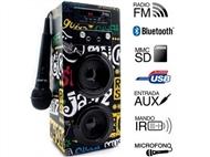 Coluna Portátil Karaoke Band com Amplificador, Microfone, Comando, Bluetooth, SD, MMC, AUX e USB.