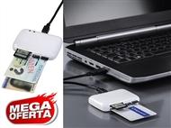 Leitor USB Portátil de Cartões de Identificação, SD, MMC, MS, XD, MicroSD e M2. PORTES INCLUIDOS.