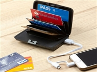 Porta-Cartões de Segurança e Power Bank de 1800 mAh com Cabo USB. VER VIDEO.