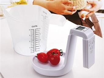 Balança de Cozinha Digital e Jarro Medidor Desmontável por 20.90€. Mede peso e volume de líquidos ou granel até 3kg. PORTES INCLUÍDOS.