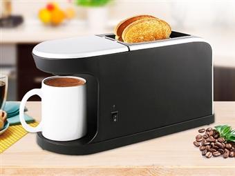 Torradeira e Máquina de Café 2 em 1 com 2 Aberturas Largas, 7 Níveis de Potência e uma Caneca de Café por 28.50€. Um Pequeno-almoço rápido e completo. PORTES INCLUÍDOS.